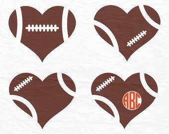 Football Heart, Football Love SVG, Football SVG, Football Cut Files, Svg Files, Cricut Files, Football monogram frame, Silhouette Files