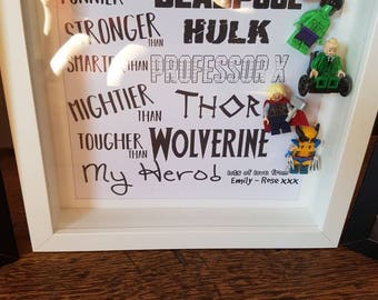 Superhero//Shadow Box Frame//Customise Heroes//Minifigures//Gift//Daddy/Dad//For Him//Father Day//Birthday//Super Daddy//Personalise//Geek