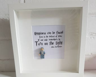 Shadow Box Frame//Harry Potter/Dumbledore/Minifigure//Gift//Birthday//Friends/Mothers Day/Fathers Day/Geek//Turn on the light//Lego