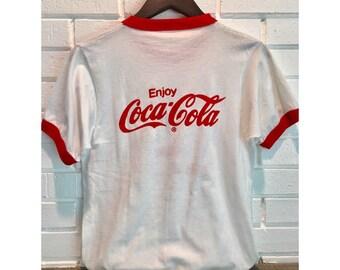 Vintage Coca Cola Sz M Baseball Red & White T-Shirt