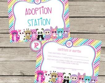 Pet Adoption Certificate Adopt a Pet Birthday Party Ideas Polka Dot Adoption Station Stuffed Animal Panda Kitten Puppy Unicorn Pet Shop Zoo