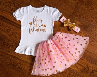 Four and Fabulous birthday outfit, 4th birthday shirt, fourth birthday shirt, four year old tutu birthday outfit.