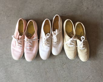 Vintage Keds Champion Oxford Classic White Tan Pink Canvas Tennis Shoes (Women's 7 & 8)