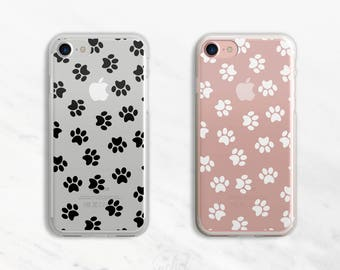 Black Paw Print iPhone 6 Case Dog iPhone 7 Case iPhone 6 Plus Case Clear iPhone 6 Case iPhone 7 Plus Case Clear Black or White