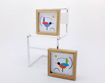 mini modern bird pictures set of two colorful dollhouse mid century modern prints - Mini Gold Frames