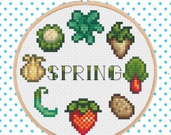 Stardew Valley - Spring Crops Cross Stitch Pattern Pixel Art