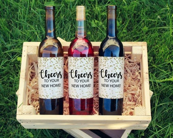 Custom wine label, realtor gift, stock the bar, congrats new home, new homeowner, wine bottle labels, printable wine label, new beginnings,