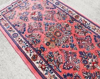 Pink Persian Sarouk Rug, Traditional Rug, Persian Rug, Vintage Rug, Antique Carpet, Floral Rug, Boho Oushak Rug   145 x 68 cm / 4.7 x 2.2 ft