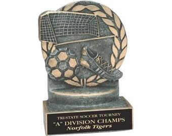 "4 1/4"" Pewter/Gold Soccer Resin Award with Custom Engraved Plate"