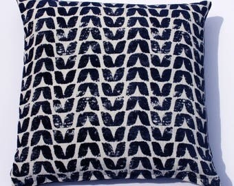 Scandinavian style bird textured cushion in navy (cushion pad included)