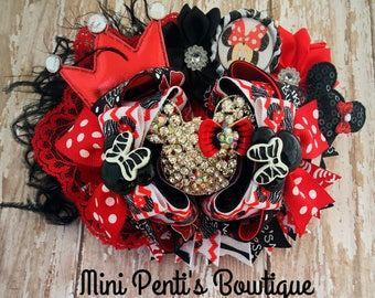 Minnie Mouse Boutique Style Hair Bow/Bling Minnie/Minnie Mouse Embellishments/Red Lace/Silk Flowers/Bottle Cap/Bottle Cap Image/Ostrich Puff