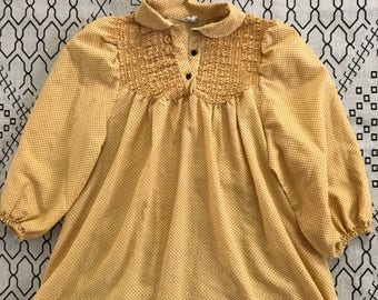 Ruched yellow and black vintage blouse