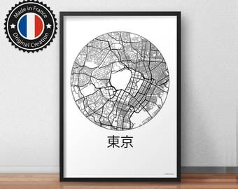 Poster Tokyo Japan Minimalist Map - City Map, Street Map