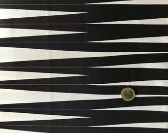White and black patchwork fabric with stripes Enchanted Forest Maywood studio