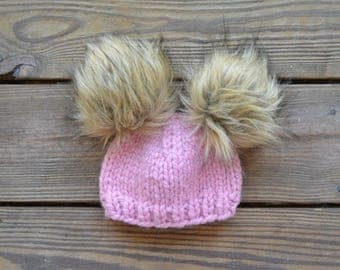 Baby Fur Pom Pom Hat, Fur Pom Pom Beanies, Toddler Hat for girls, Double pom pom hat, Baby Pom Pom Beanies, Baby Pom Pom Hat Pom Pom Hat