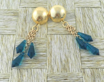 Lovely Handmade Earrings made with Bronze Domes Platted in 18k Gold and Blue Crystals