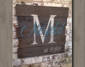 """Hand-Painted, Personalized """"Family Name & Monogram"""" -  Wood Sign (Wall Decor)"""