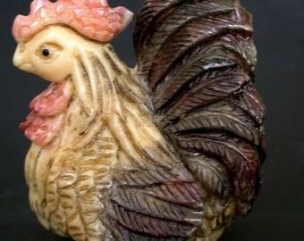Japanese netsuke - a proud Hen/Chicken/Rooster Bird,composite