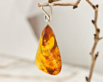 Genuine Baltic Amber and Sterling Silver Pendant