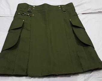 Olive Green Cargo Fashion Kilt | utility kilt | active men kilt