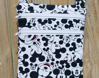 Disney inspired Mickey Mouse zip and go crossbody bag