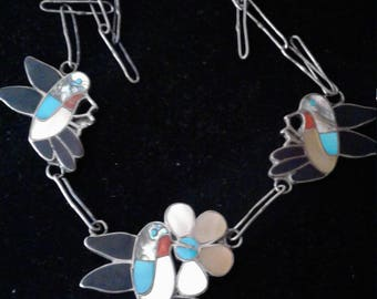 Rare Vintage Zuni Native American Sterling Silver and Multi Stone Hummingbird Necklace Signed Wesley & Ella Louise Gia, Zun