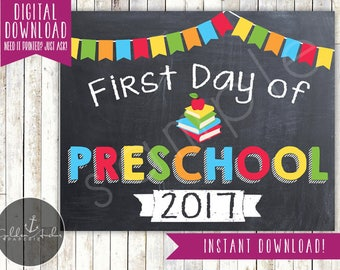 First Day of Preschool Sign - 1st Day of Preschool Sign - First Day of School - Photo Prop - Chalkboard - Printable, Instant Download