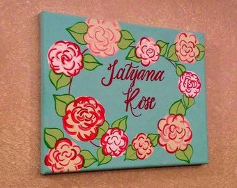 8x10 Personalized Floral Painting, girls room decor