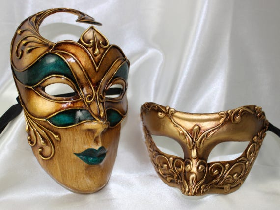 Masquerade Ball Clothing: Masks, Gowns, Tuxedos His and Hers Couples Masquerade Masks Stunning Bellissima Cremona Gold Green Handmade Authentic Venetian Mask VA914His and Hers Couples Masquerade Masks Stunning Bellissima Cremona Gold Green Handmade Authentic Venetian Mask VA914  AT vintagedancer.com