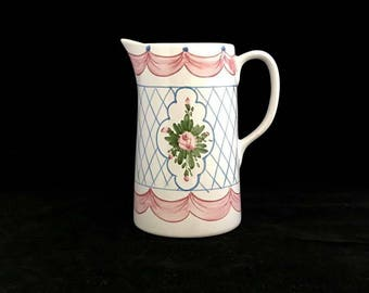 PANTRY PITCHER, Casafina-Melveira, VIntage Handpainted Portuguese Pottery, Cottage Chic, Pink Floral Motif, Vintage Home Decor