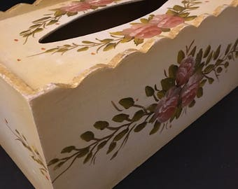 Floral painted Tissue Box/ Wedding gift box/ Country Decor