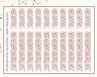 BOW CHECKLIST GLITTER | Planner Stickers | Premium Matte Paper