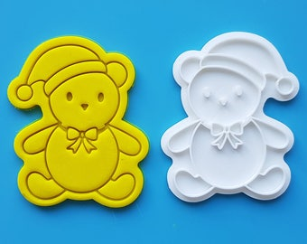 Bear Wearing Santa Hat  Cookie Cutter and Stamp