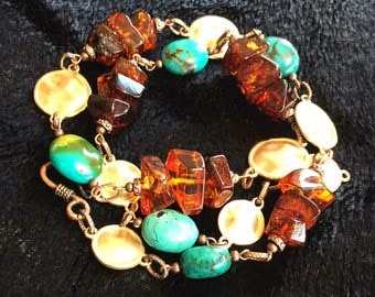 Large Baltic Amber and Turquoise African Necklace/Bracelet