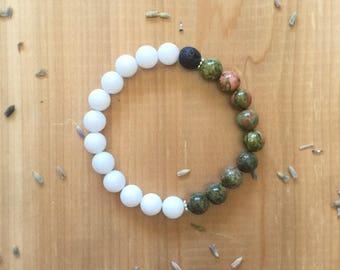 Essential Oil, Diffuser Bracelet, Moss Agate Beads, White Agate Beads, Black Lava Bead, Agate Beads Bracelet