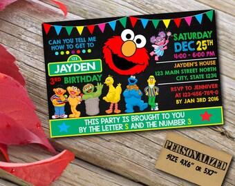 Sesame Street Invitation  / Elmo Invitation / Sesame Street Birthday / Sesame Street Invite / Sesame Street Party / Sesame Street Elmo