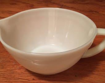 Vintage Fire-King Oven Ware, made in USA, milk glass, ivory white, batter bowl, mixing bowl, with handle and spout