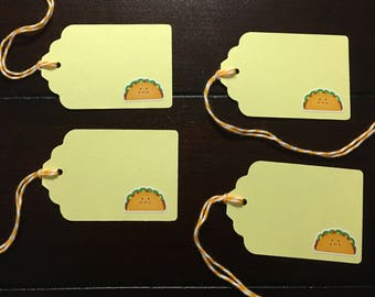 Taco Tags, Taco Goodie Bag Tags, Tacos Party Theme, Taco Favor Tags, Taco Gift Tags - 4/order