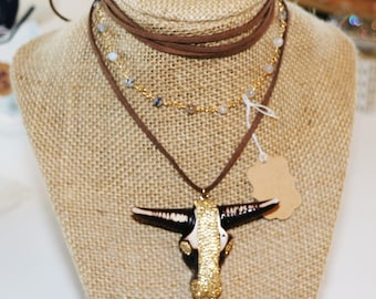 Long Horn wrap necklace