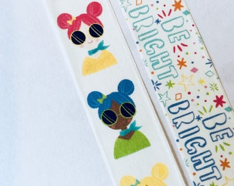 Be Bright Washi Tape, Girl Washi Tape, Cat Cartoon Washi Tape, OMGEEEZ Washi Tape