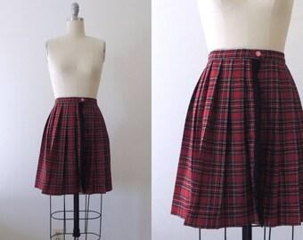 Vintage 1950s plaid skirt with fringe   50s pleated wool wrap skirt   schoolgirl skirt   red tartan plaid mini skirt   uniform skirt   XS