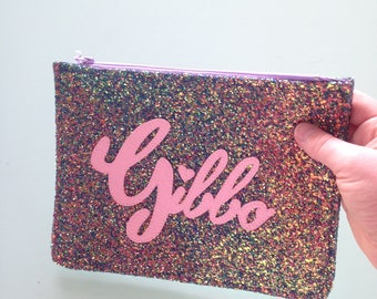 Personalised purple glitter clutch with pink text