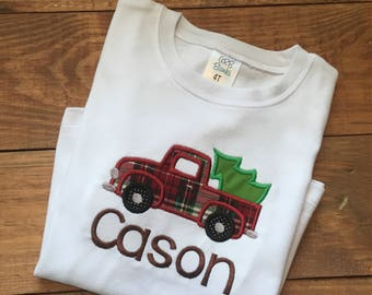 Boys christmas tree truck shirt, christmas truck shirt, boys truck shirt, boys christmas tree shirt, boys plaid truck shirt