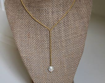 Long Y-Drop Lariat Gold Beaded Necklace