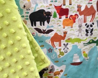 WORLD map animal baby blanket - minky baby blankie - blue and green
