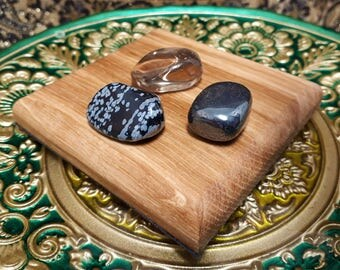 3pc Gaia Gateway Chakra Crystal Set- Reiki charged tumbled stones healing - kundalini balancing - hematite snowflake obsidian smokey quartz