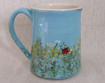 Pottery mug. Moth mug. Cinnabar moth mug. Meadow flower mug.