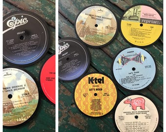 hand made 6 pack or 3 pack of record coasters/classic LP's/record coasters/coasters/music/LP coasters