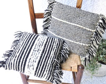 Black and White Woven Wool Accent Pillows | Retro Throw Pillows | Knitted Cushions | Fuzzy Fringy Pillows | Knitted Wool Pillow | Fringed