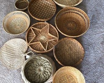 Vintage wall basket collection set of 11 baskets